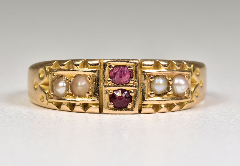 Antique Victorian 15ct Gold Ruby & Seed Pearl Ring, (Birmingham,1893)