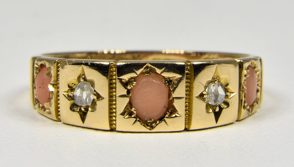 Antique 15ct Gold Victorian Angel Skin Coral & Diamond Ring, (Birmingham, 1879)