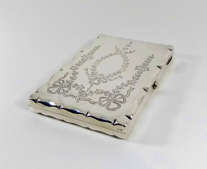 Antique Edwardian Solid Silver Card Case, Leather Inside, Deakin & Francis 1908