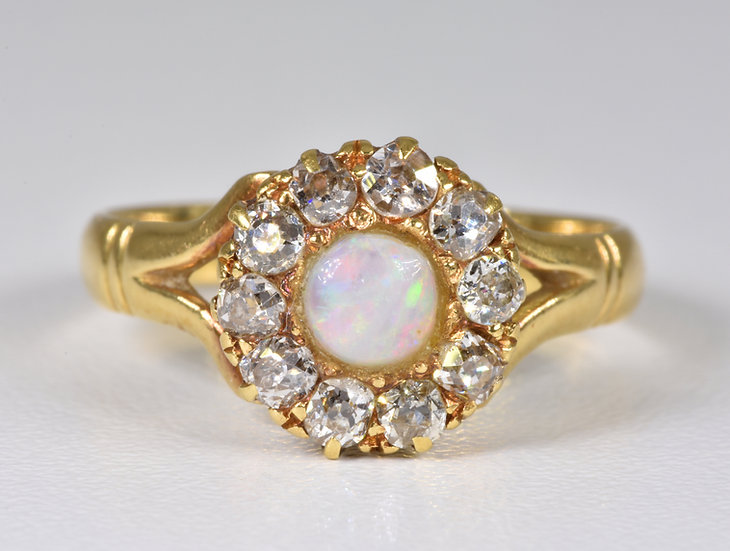 Antique Victorian 18ct Gold Fire Opal & Diamond Ring, With Original Box