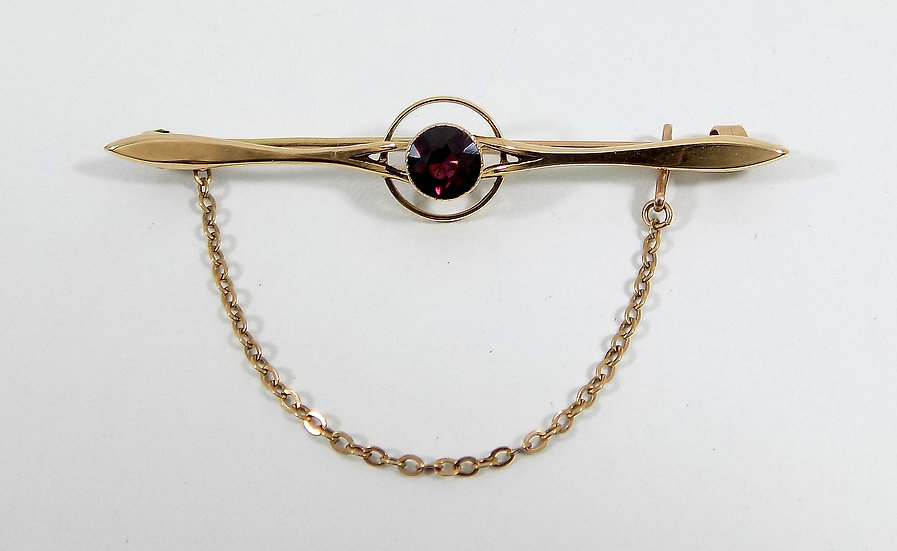 Antique Victorian 15ct Gold Garnet Tie Pin/Brooch, c1890