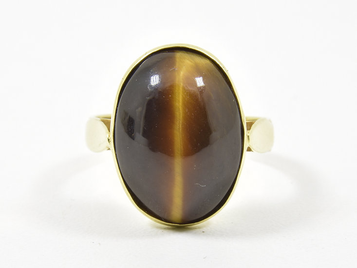 Vintage 14ct Gold & Tigers Eye Ring, (Yugoslavia, ZT, 585)