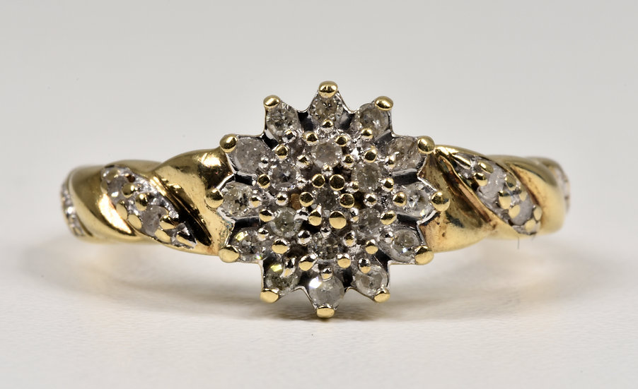 Vintage 9ct Gold Diamond Cluster Flower Head Ring, (Sheffield,1980's)
