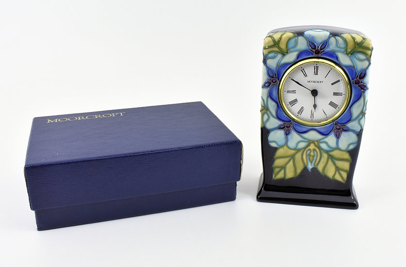 Vintage Moorcroft Limited Edition Clock, Tudor Rose Pattern, With Original Box.