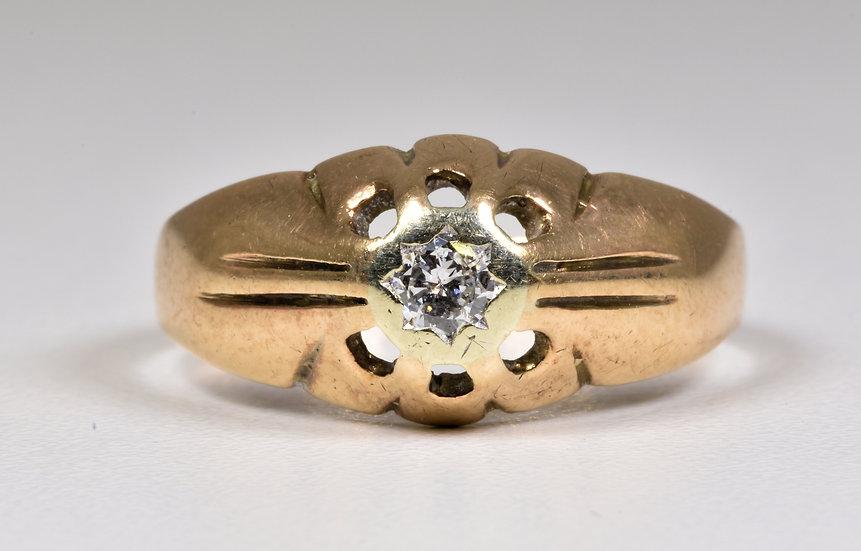 Vintage 9ct Gold Diamond Solitaire Ring, (Birmingham,1972), Original Box