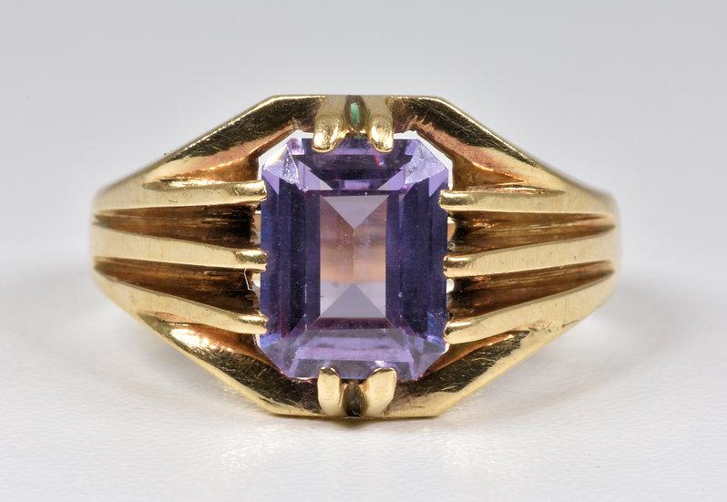 Vintage Mens 9ct Gold Purple Sapphire Ring, (Birmingham, 1992)