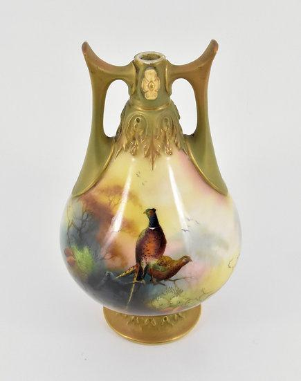 Antique Royal Worcester Twin Handled Pedestal Vase, Pheasants, 1908, Signed