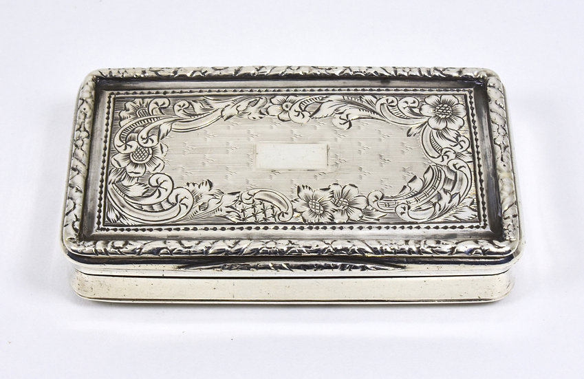 Antique French Georgian Solid Silver Snuff Box, c1820