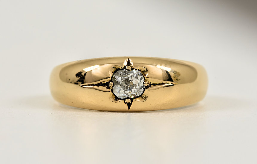 Antique Victorian 18ct Gold Diamond Solitaire Gypsy Ring, (Birmingham,1890),