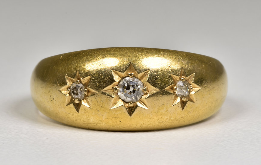 Antique Edwardian 18ct Gold Diamond Gypsy Ring, (Chester,1907)