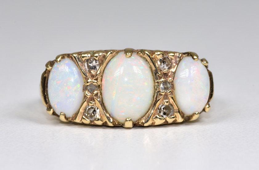 Antique Art Deco 9ct Gold Fire Opal & Diamond Ring, (1930's)