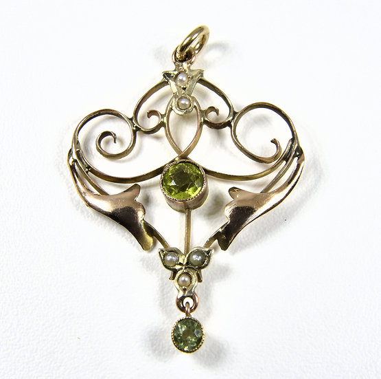 Antique Edwardian 9ct Gold Peridot & Seed Pearl Pendant, c1905