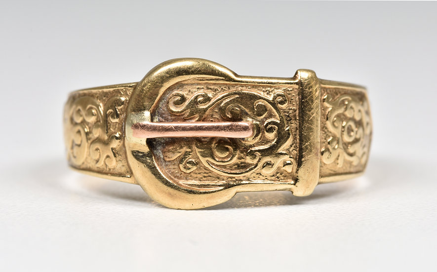 Vintage 9ct Gold Buckle Ring, (London,1972)