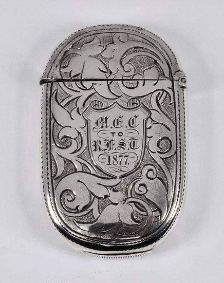 Antique English Victorian Solid Silver Vesta Case (Hilliard & Thomason, 1877)