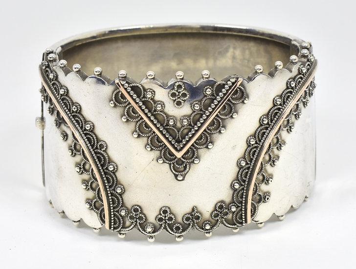 Antique Mid Victorian Solid Silver & Rose Gold Hinge Bracelet.