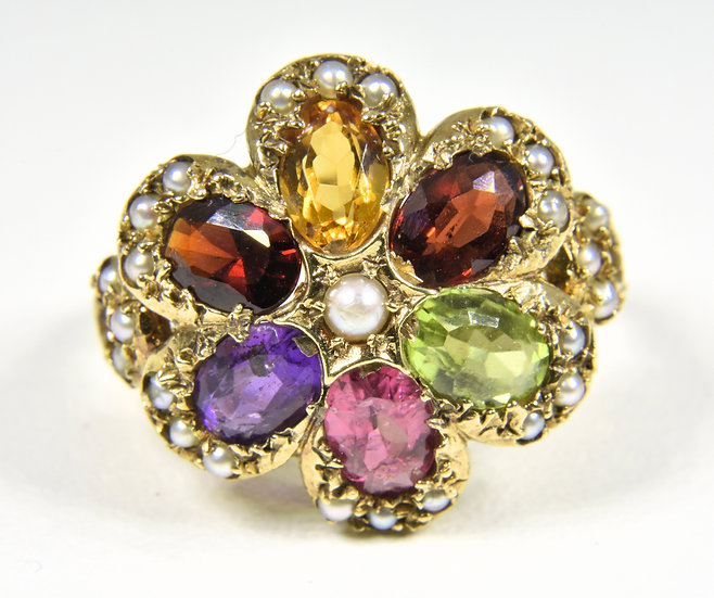 Vintage 9ct Gold Multi Stone & Pearl Flower Ring, (London 1973)
