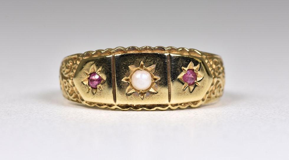 Vintage 9ct Gold Ruby & Half Pearl Gypsy Ring, (Birmingham, 1994)