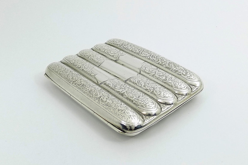 Rare Antique Edwardian solid Silver 5 Tube Cigar Case, (Sydney & Co, 1912, 191g)