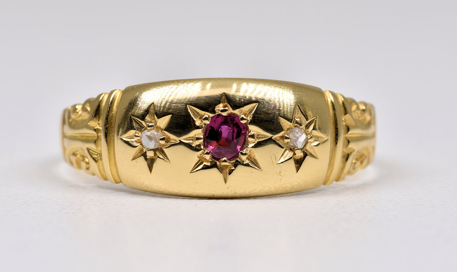 Antique Edwardian 18ct Gold Ruby & Diamond Gypsy Ring, (Birmingham,1909)