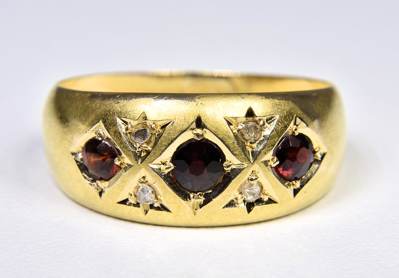 Antique Edwardian 18ct Gold Ruby & Diamond Gypsy Ring, 1906