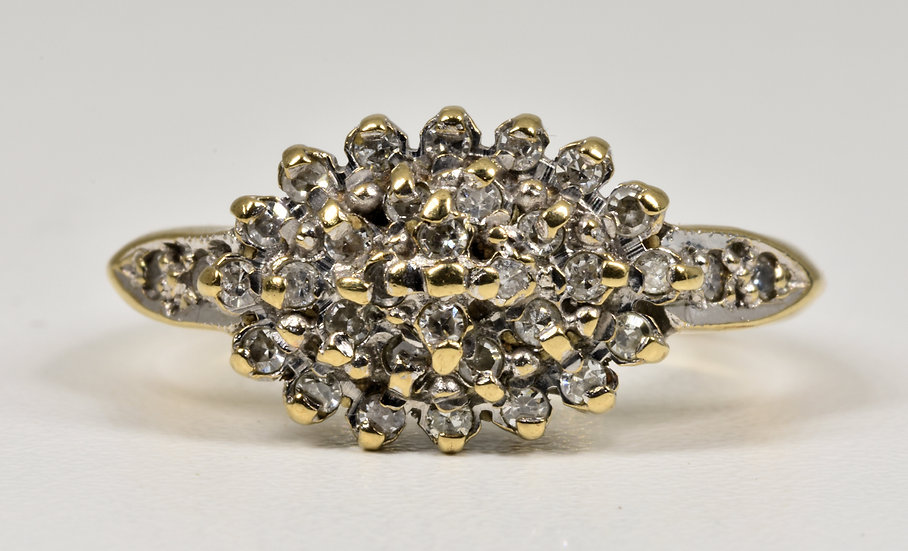 Vintage 9ct Gold Diamond Cluster Ring, (Sheffield,1997)