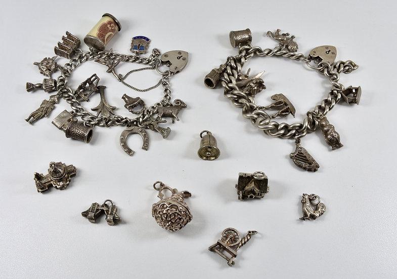 2 x Vintage Silver Charm Bracelets & Extra Charms
