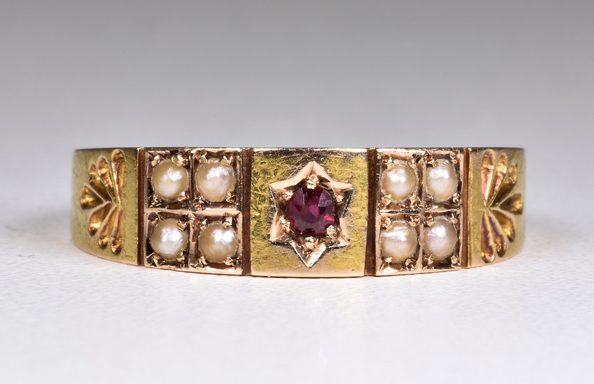 Antique Victorian 15ct Gold Ruby & Seed Pearl Ring (Birmingham,1886)