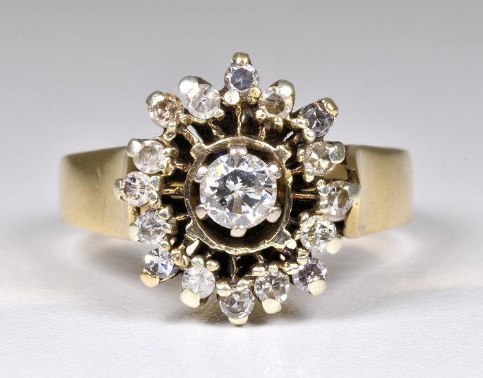 Vintage 9ct Gold Diamond Cluster Ring, (London,1977)