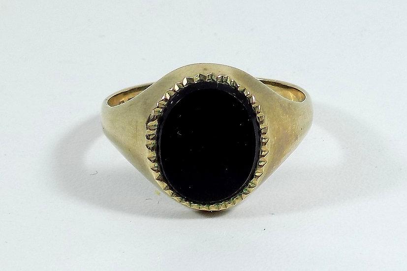 Vintage 9ct Gold Mens Onyx Ring, UK Size U, U.S. Size 10 1/4