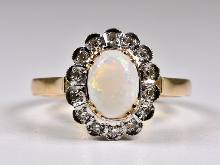Vintage 14ct Gold Fire Opal & Diamond Ring, (Finland,1991)