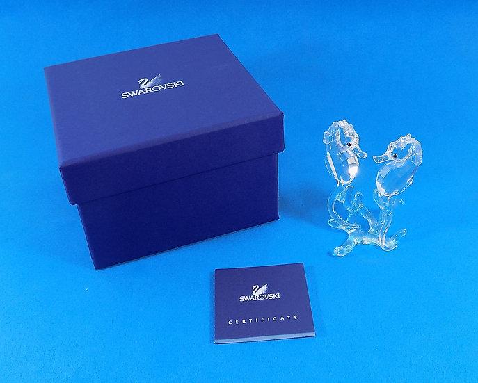 Swarovski Silver Crystal Seahorses,With Certificate & Original Case