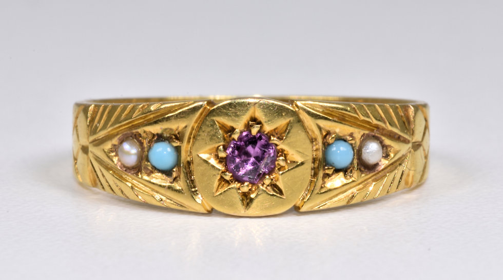 Antique Victorian 9ct Gold Almandine Garnet, Turquoise & Seed Pearl Ring (1900)