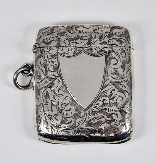 Antique English Victorian Solid Silver Vesta Case (William Hair Haseler, 1898)