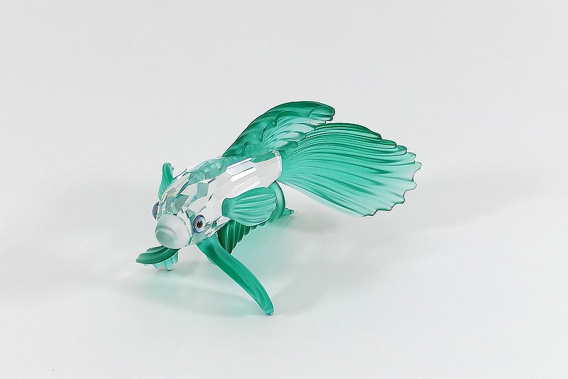 Swarovski Silver Crystal Green Siamese Fighting Fish, Original Case