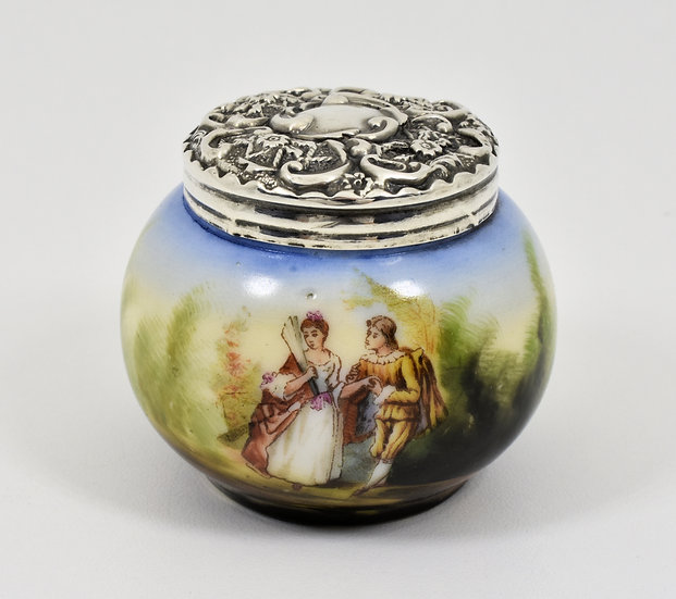Antique English Edwardian Solid Silver Topped Hand Painted Porcelain Pot, 1904