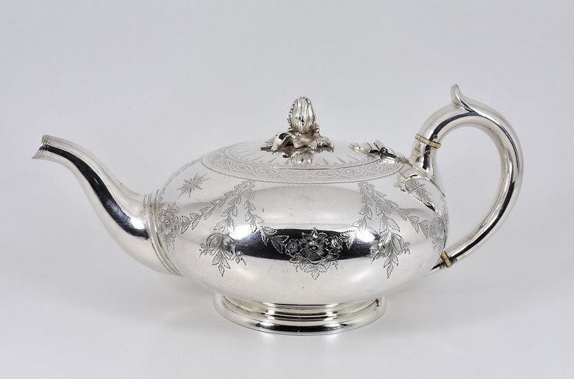 Antique English Victorian Silver Plated Bullet Teapot (Elkington & Co, 1888)