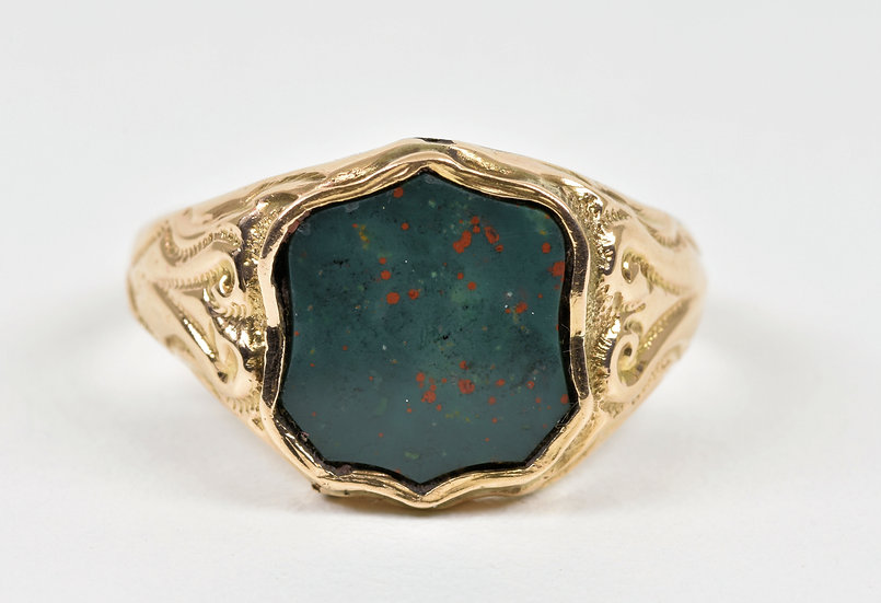 Antique Victorian 9ct Gold Bloodstone Shield Ring, (Birmingham, 1898)