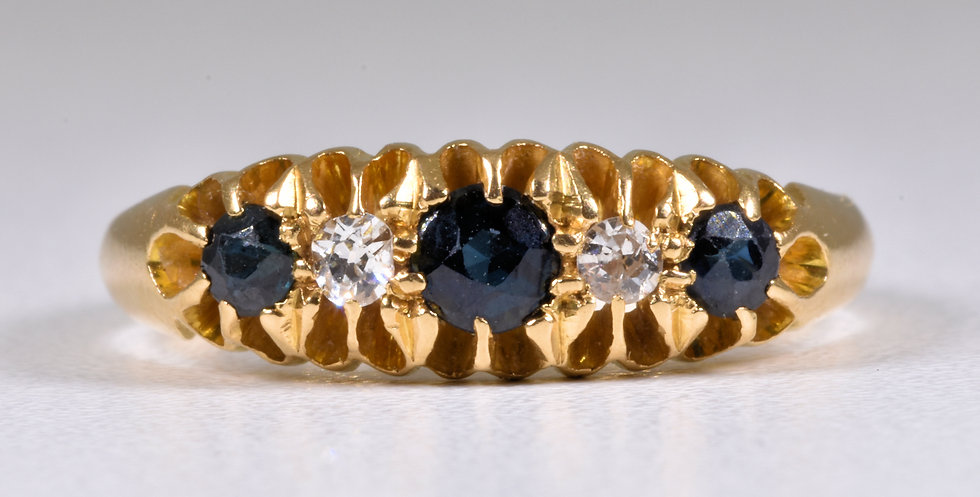 Antique Victorian 18ct Gold Sapphire & Diamond Ring, (Birmingham,1863)