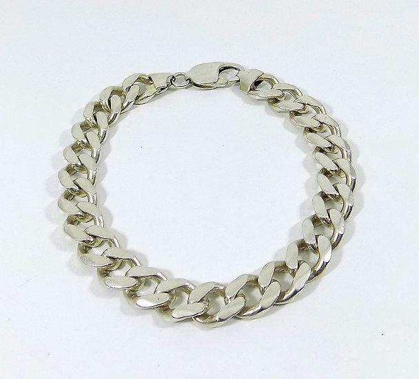 Vintage Mens Solid Silver Curb Bracelet, Weight 39.14g, c1980