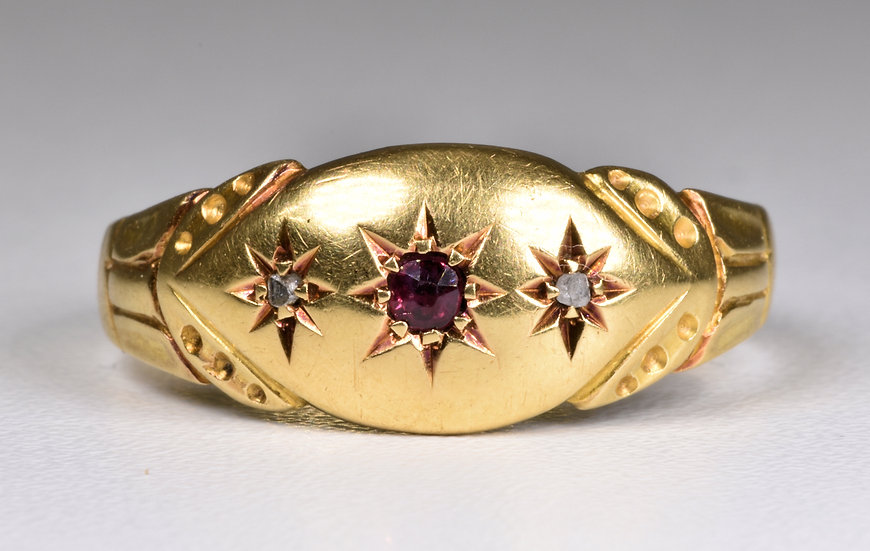 Antique Edwardian 18ct Gold Ruby & Diamond Gypsy Ring, (Chester,1906)