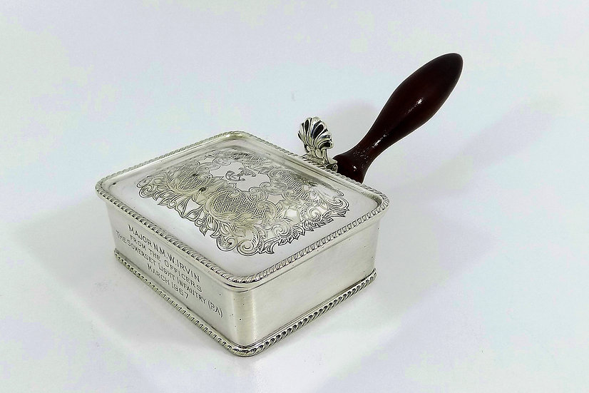 Antique Silver Plated Cheese Toasting Dish, Somerset Light Infantry Interest