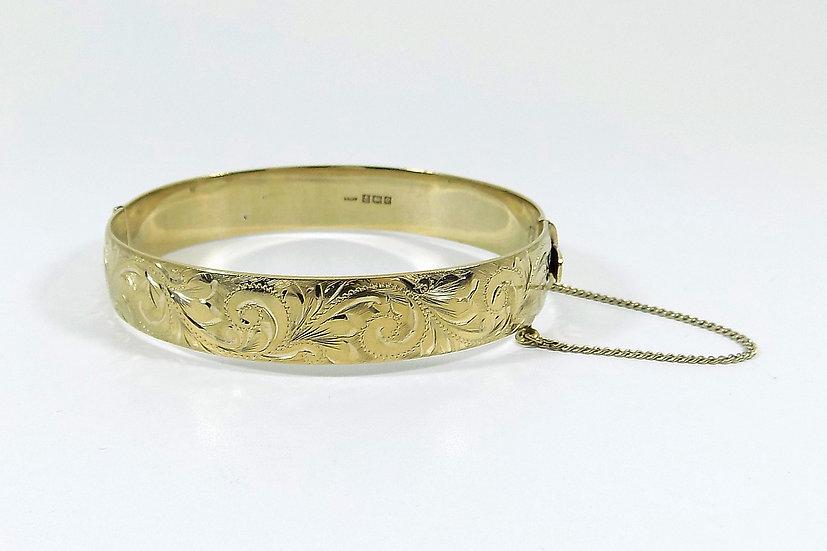 Vintage Solid Silver Gilt Hinged Bracelet, 1963, Weight 42.88g