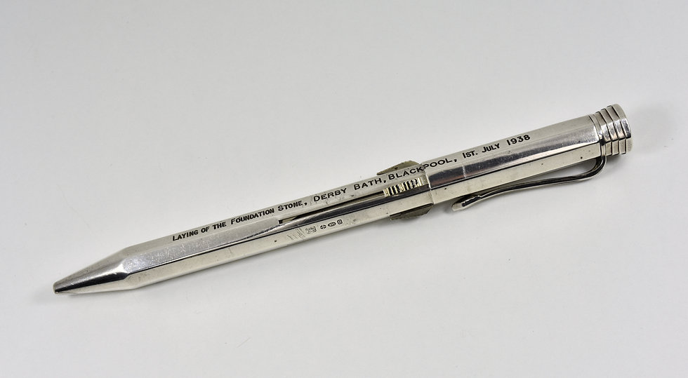 Antique Art Deco 4 Colour Solid Silver Propelling Pencil, Blackpool Derby Baths