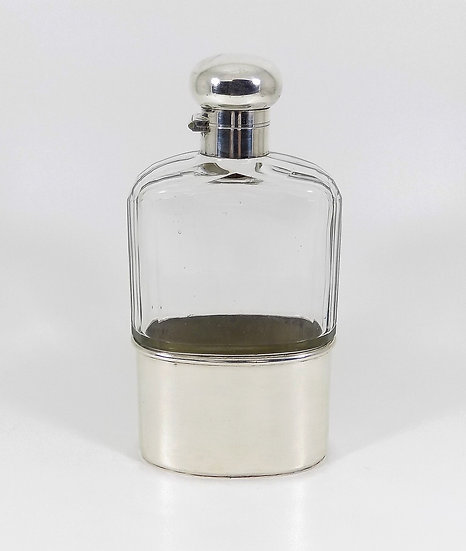 Large Antique Edwardian solid Silver & Glass Hip Flask, (Cohen & Charles, 1917)