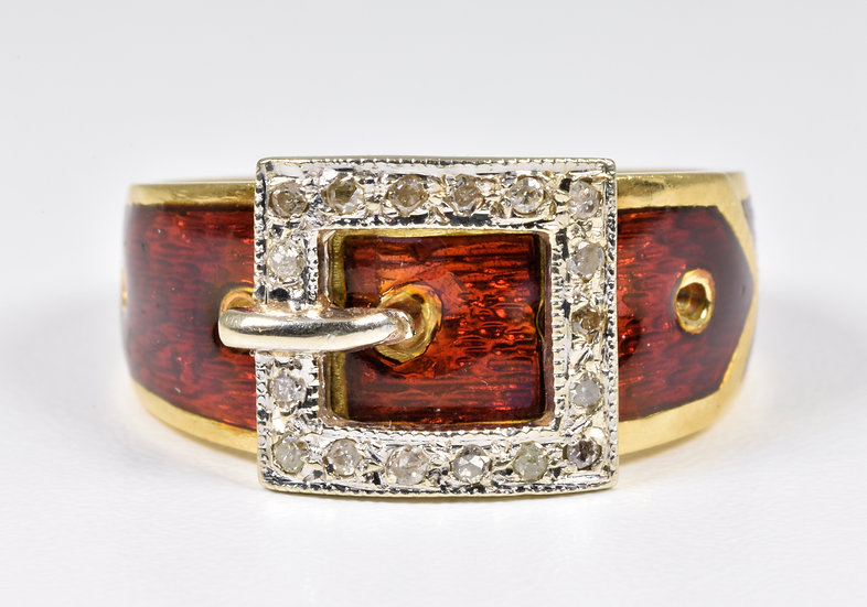 Vintage 18ct Gold Red Guilloche Enamel & Diamond Buckle Ring, (London,1977)