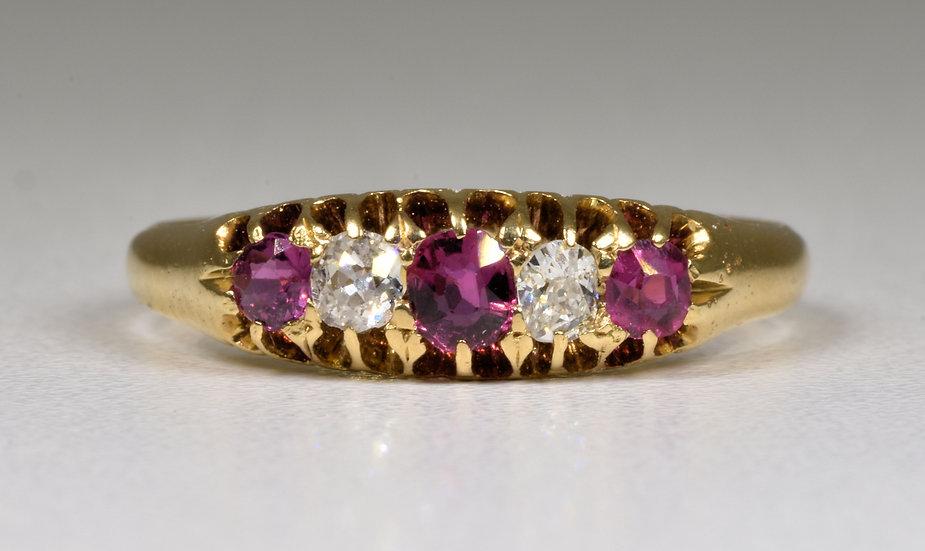 Antique Victorian 18ct Gold Ruby & Diamond Ring, (Birmingham, 1890)
