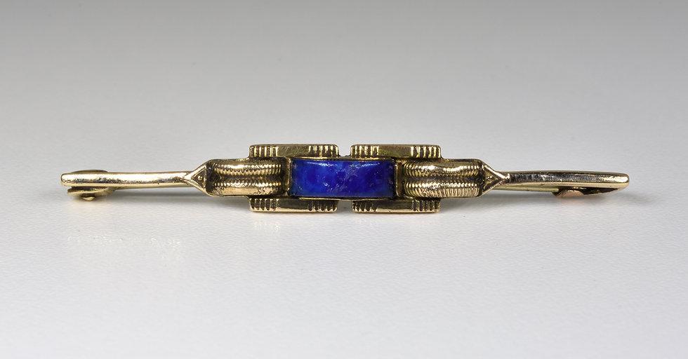 Antique Victorian 9ct Gold Lapis Lazuli Brooch, C1880