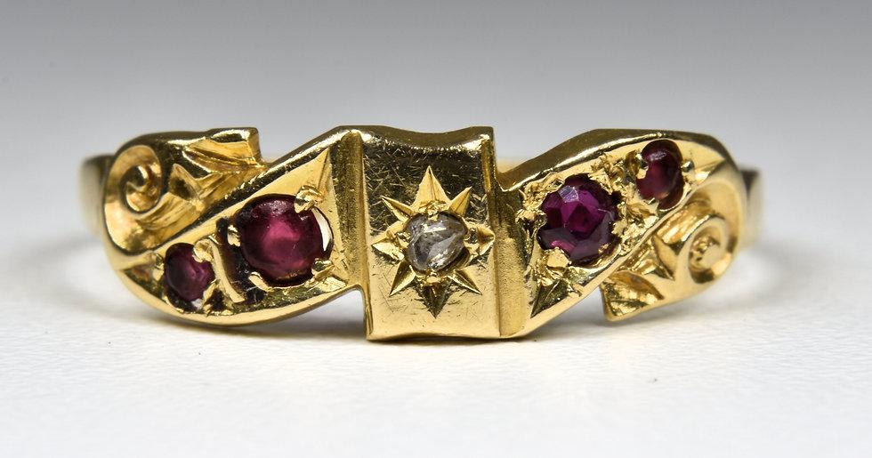 Antique Edwardian 18ct Gold Ruby & Diamond Ring, (Birmingham,1902)