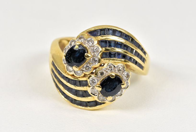 Vintage 18ct Gold Sapphire & Diamond Crossover Ring, 1970's