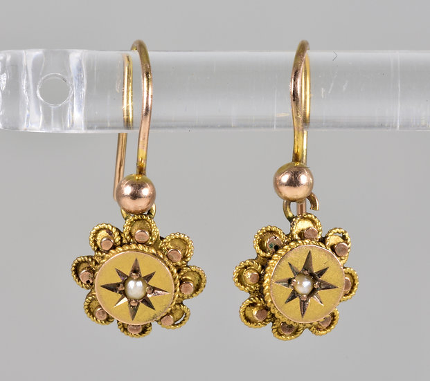Antique Victorian 9ct Gold & Seed Pearl Child's Earrings, C1880